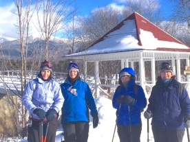 Jerrian H., Carol S., Heather G. and Martha B. Snowshoeing