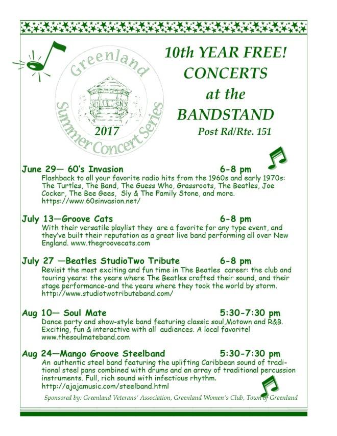 Greenland Summer Concerts 2017 Poster Ltr Size